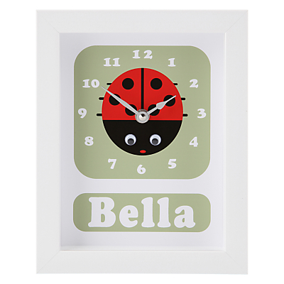 Stripey Cats Personalised Lisbeth Lady Bird Framed Clock, 23 x 18cm