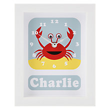 Buy Stripey Cats Personalised Cresta Crab Framed Clock, 23 x 18cm Online at johnlewis.com
