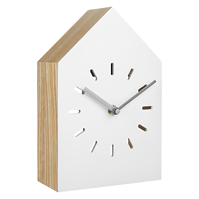 House by John Lewis Wooden Clock, White