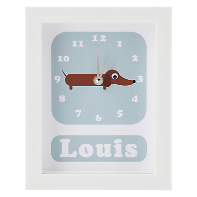 Stripey Cats Personalised Sol Sausage Dog Framed Clock, 23 x 18cm