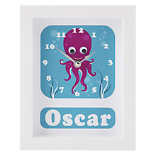 Buy Stripey Cats Personalised Oscar Octopus Framed Clock, 23 x 18cm Online at johnlewis.com