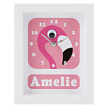 Buy Stripey Cats Personalised Flamingo Pink Framed Clock, 23 x 18cm Online at johnlewis.com
