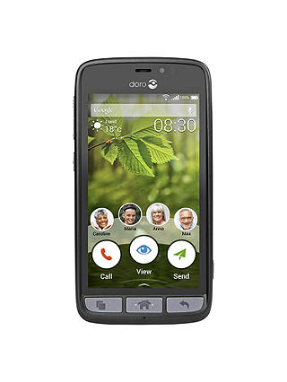 "Buy Doro 8030 Smartphone with Charging Cradle, Android, 4.5"", 4G LTE, 8GB, SIM Free, Black Online at johnlewis.com"