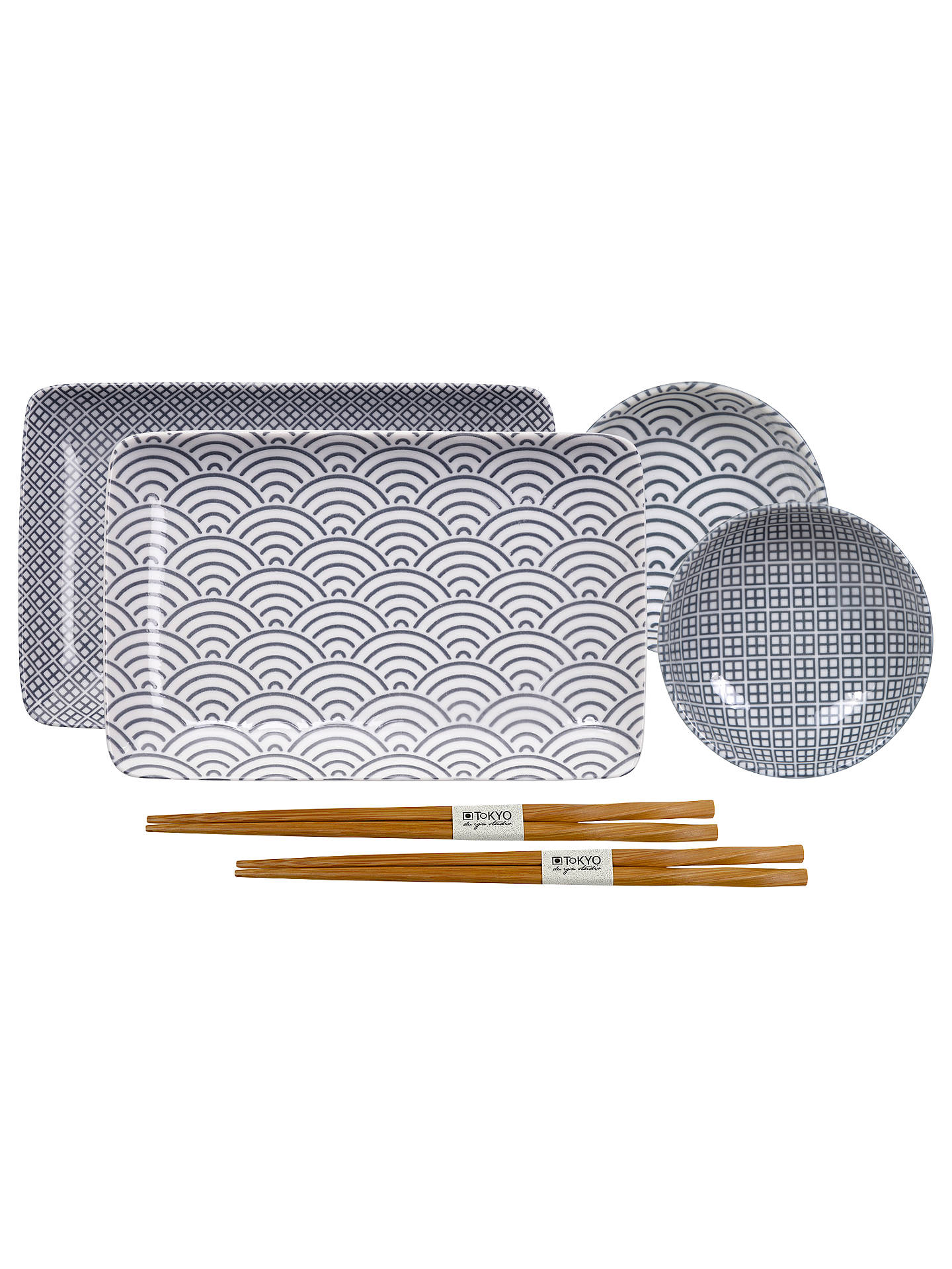 Tokyo Design Studio Nippon Grey Plate Gift Set, Set of 6, White/Black