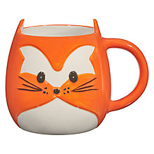 Buy John Lewis 3D Fox Mug, Orange / White Online at johnlewis.com