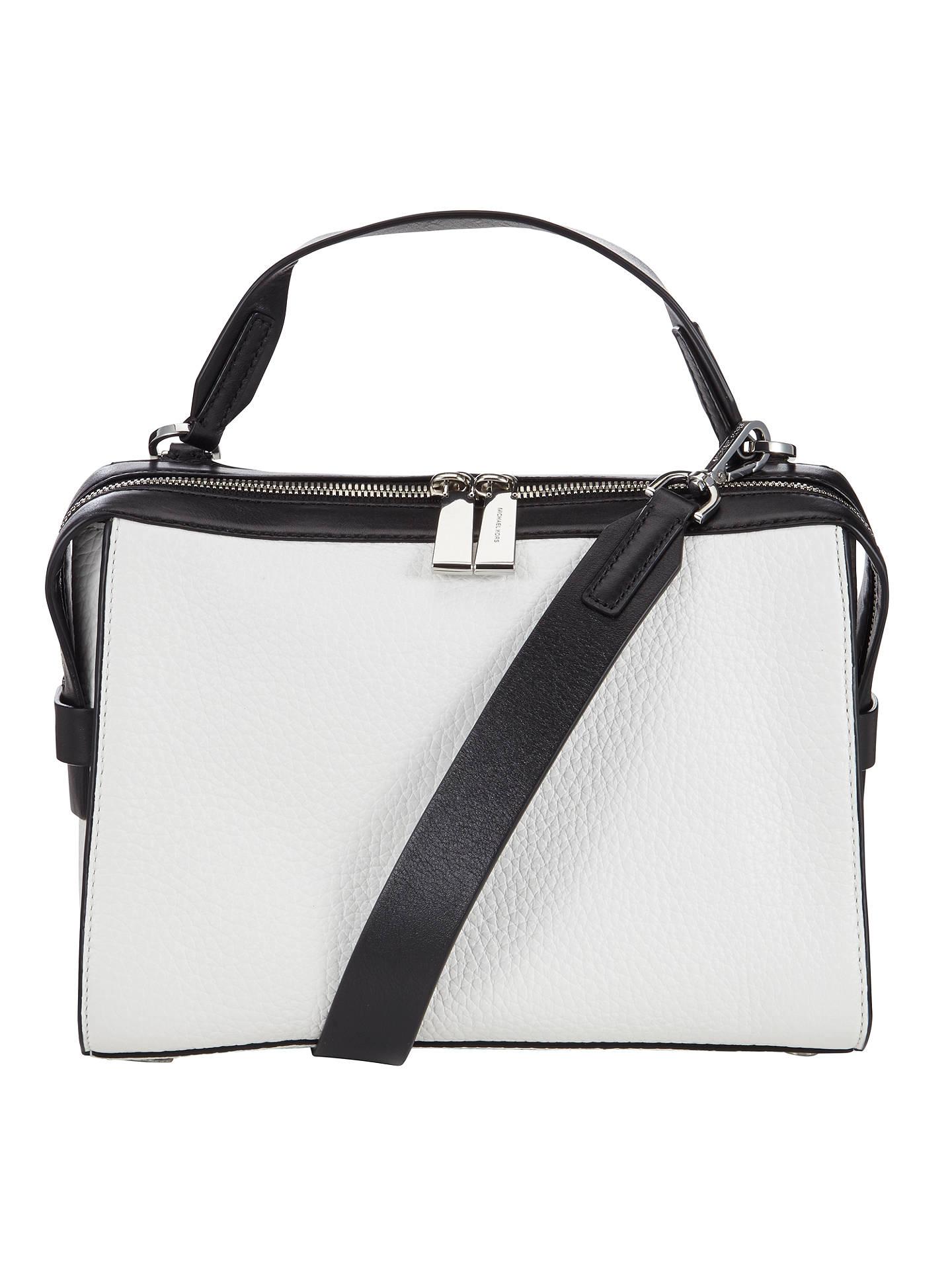 8860d5aa868e7d Buy MICHAEL Michael Kors Ingrid Medium Leather Shoulder Bag, White / Black  Online at johnlewis ...