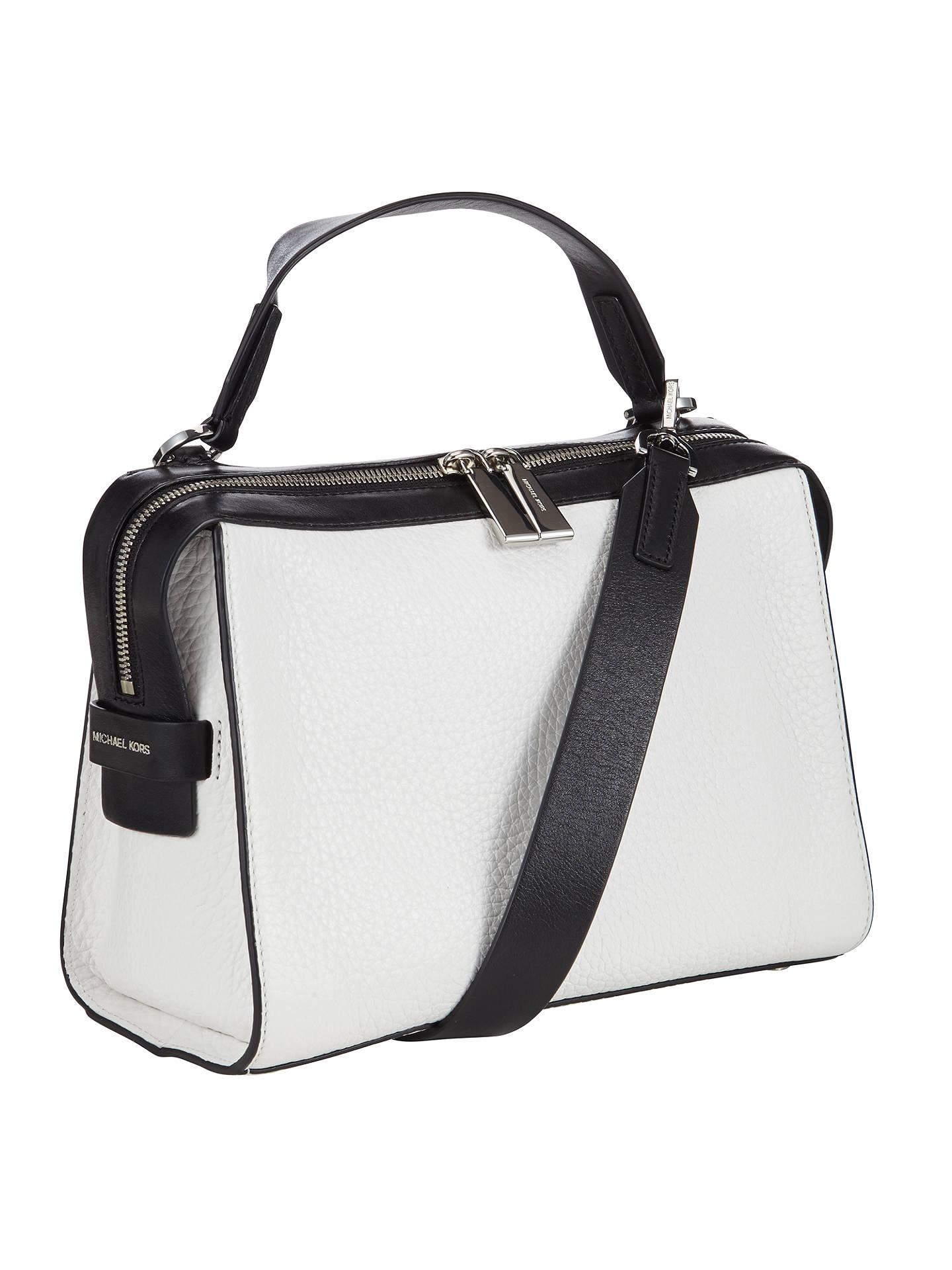 f222ec94384d82 ... Buy MICHAEL Michael Kors Ingrid Medium Leather Shoulder Bag, White /  Black Online at johnlewis ...