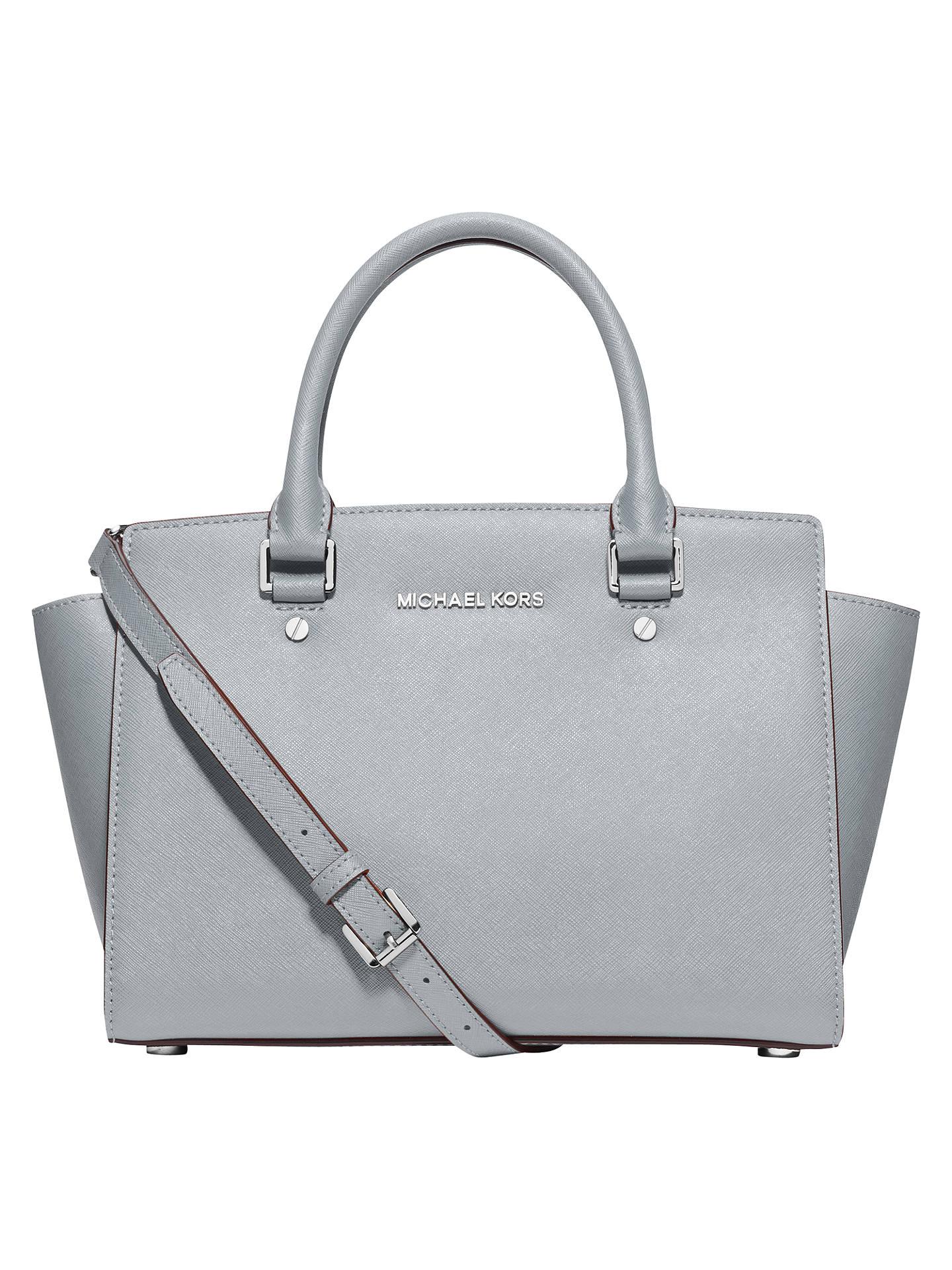 2599e642e86f Buy MICHAEL Michael Kors Selma Leather Medium Satchel, Dusty Blue Online at  johnlewis.com ...