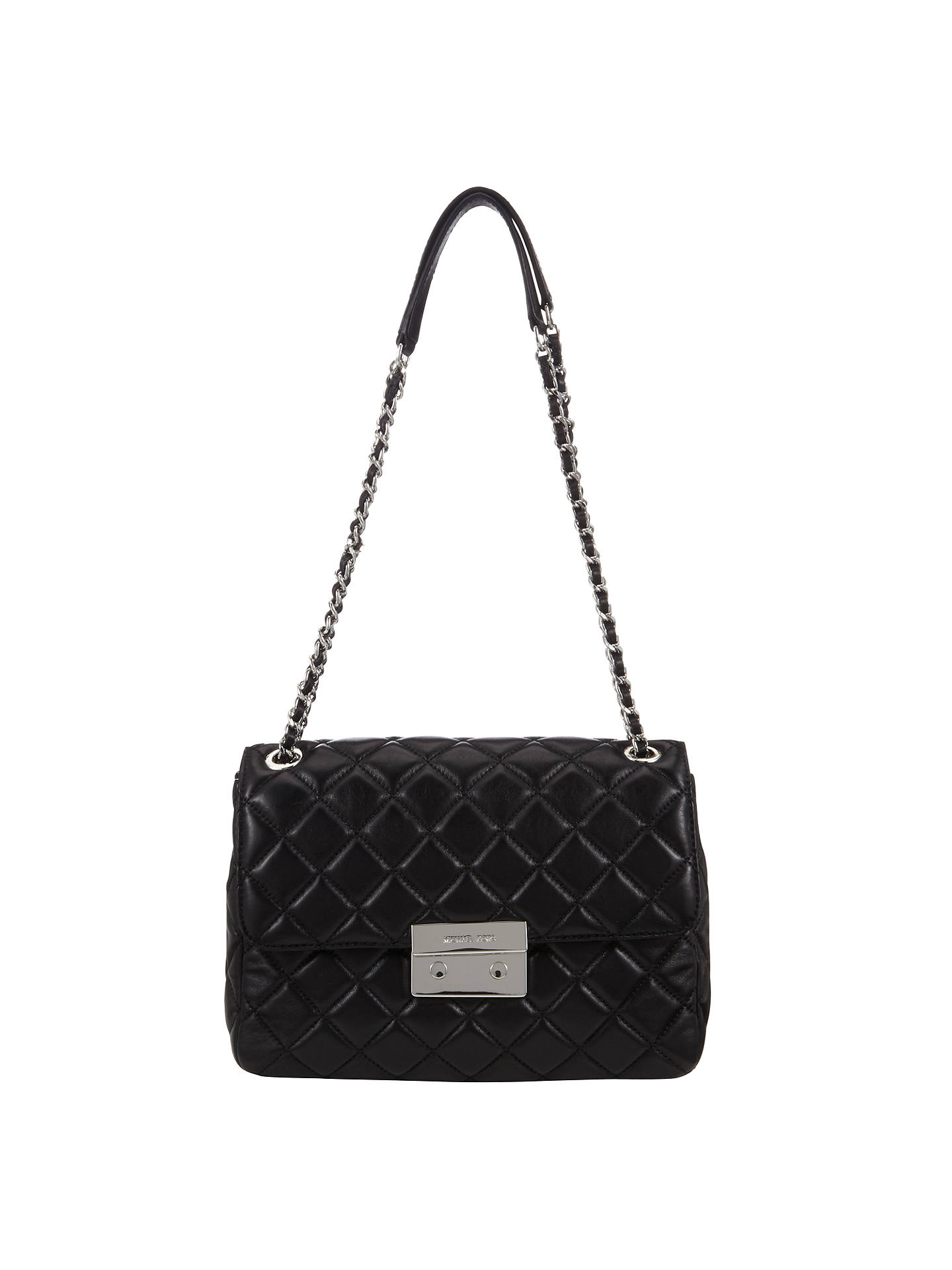ccf13c5995f57f Buy MICHAEL Michael Kors Sloan Extra Large Leather Chain Shoulder Bag, Black  Online at johnlewis ...