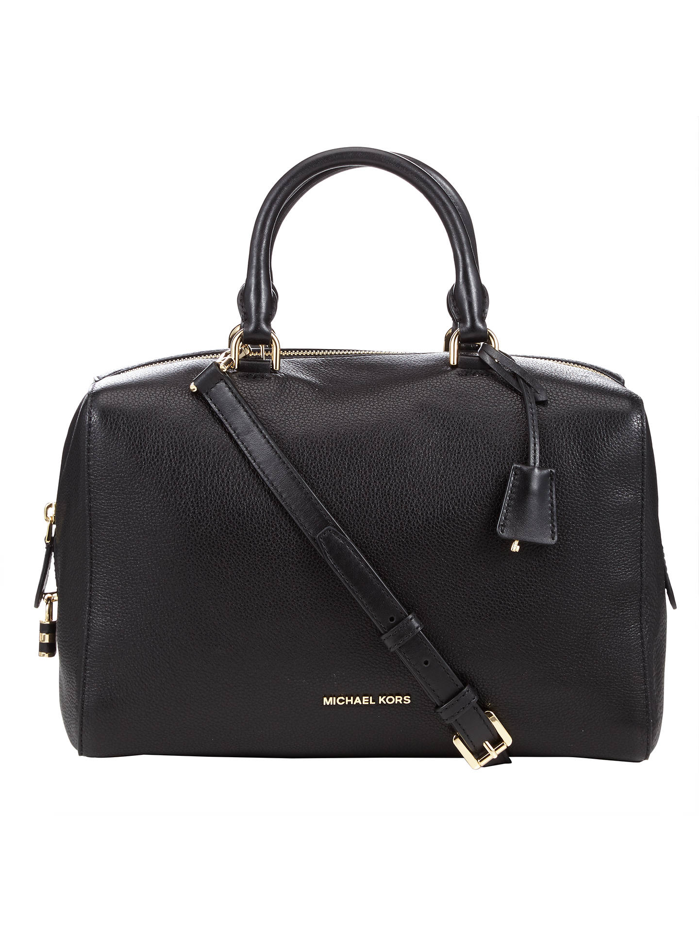 1c8cd7095ba9 Buy MICHAEL Michael Kors Kirby Leather Large Satchel, Black Online at  johnlewis.com ...