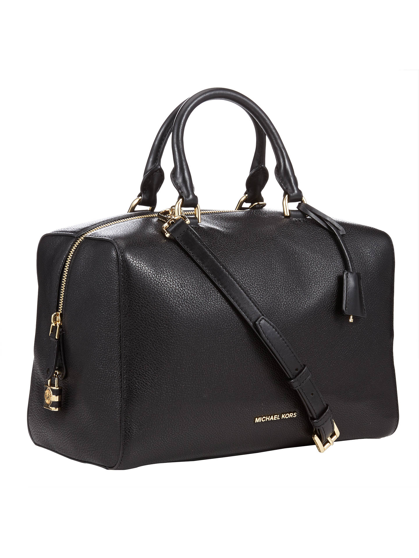 5043ac7394ac ... Buy MICHAEL Michael Kors Kirby Leather Large Satchel, Black Online at  johnlewis.com ...
