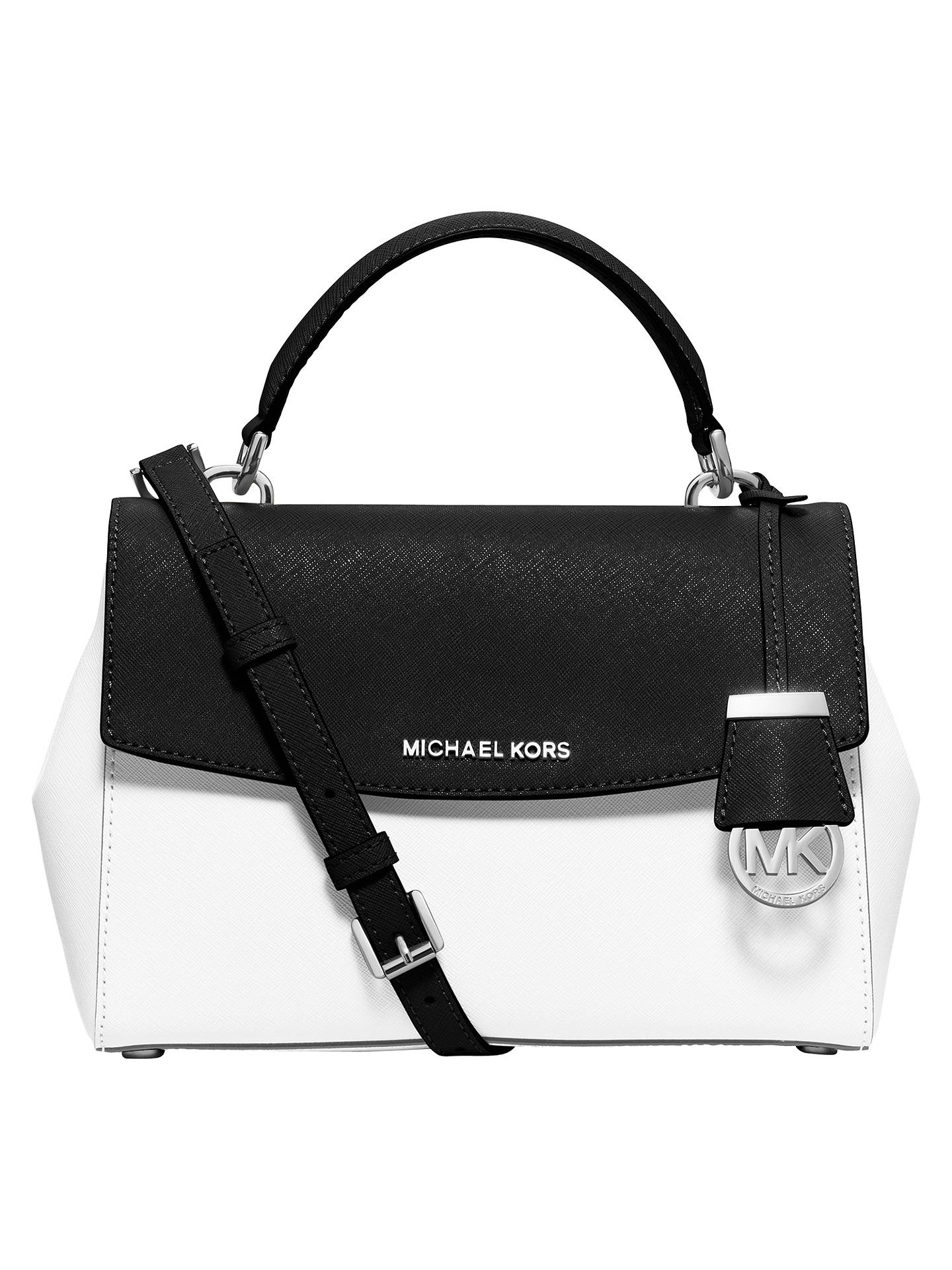 6579f9f74a85 Buy MICHAEL Michael Kors Ava Small Leather Satchel, Black / White Online at  johnlewis.