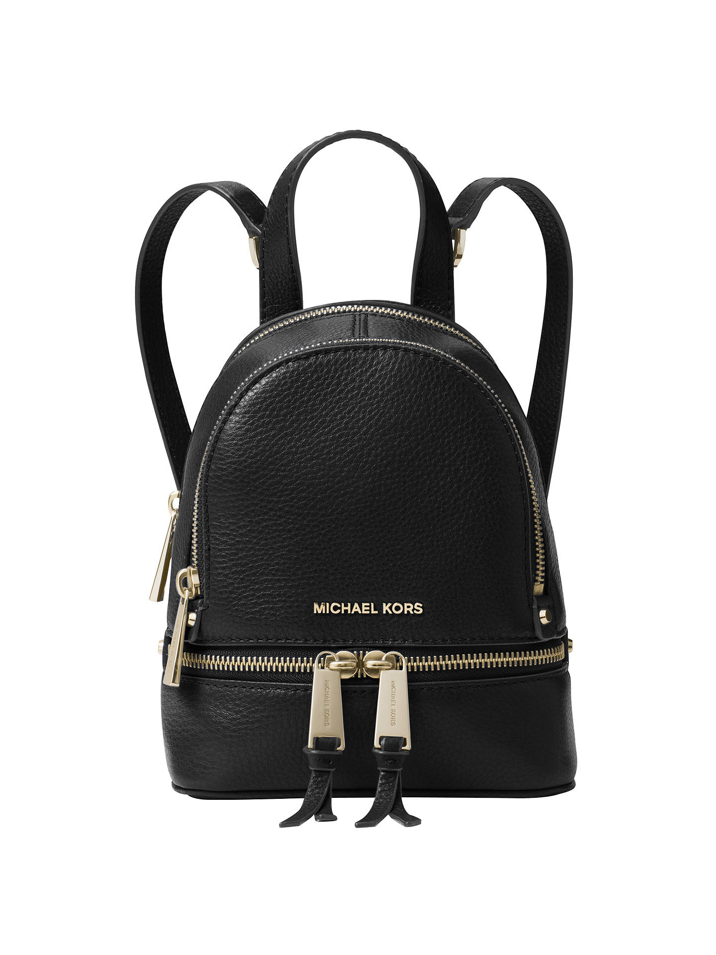 f87deceec7e4 Buy MICHAEL Michael Kors Rhea Extra Small Leather Backpack, Pebbled Black  Online at johnlewis.