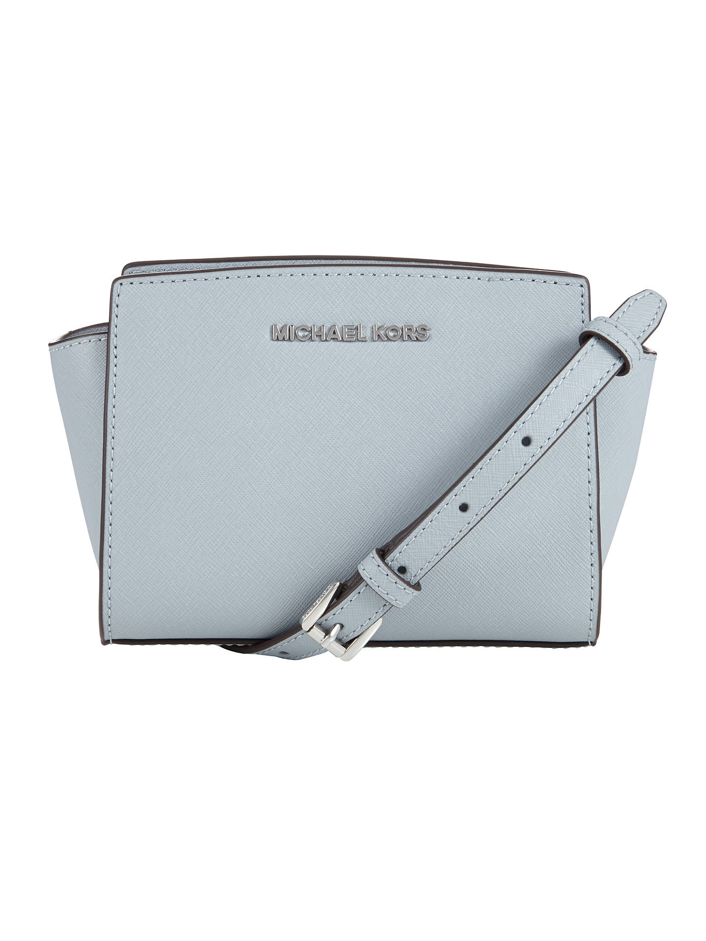 efadd3e9533e15 Buy MICHAEL Michael Kors Selma Mini Leather Messenger Bag, Dusty Blue  Online at johnlewis.