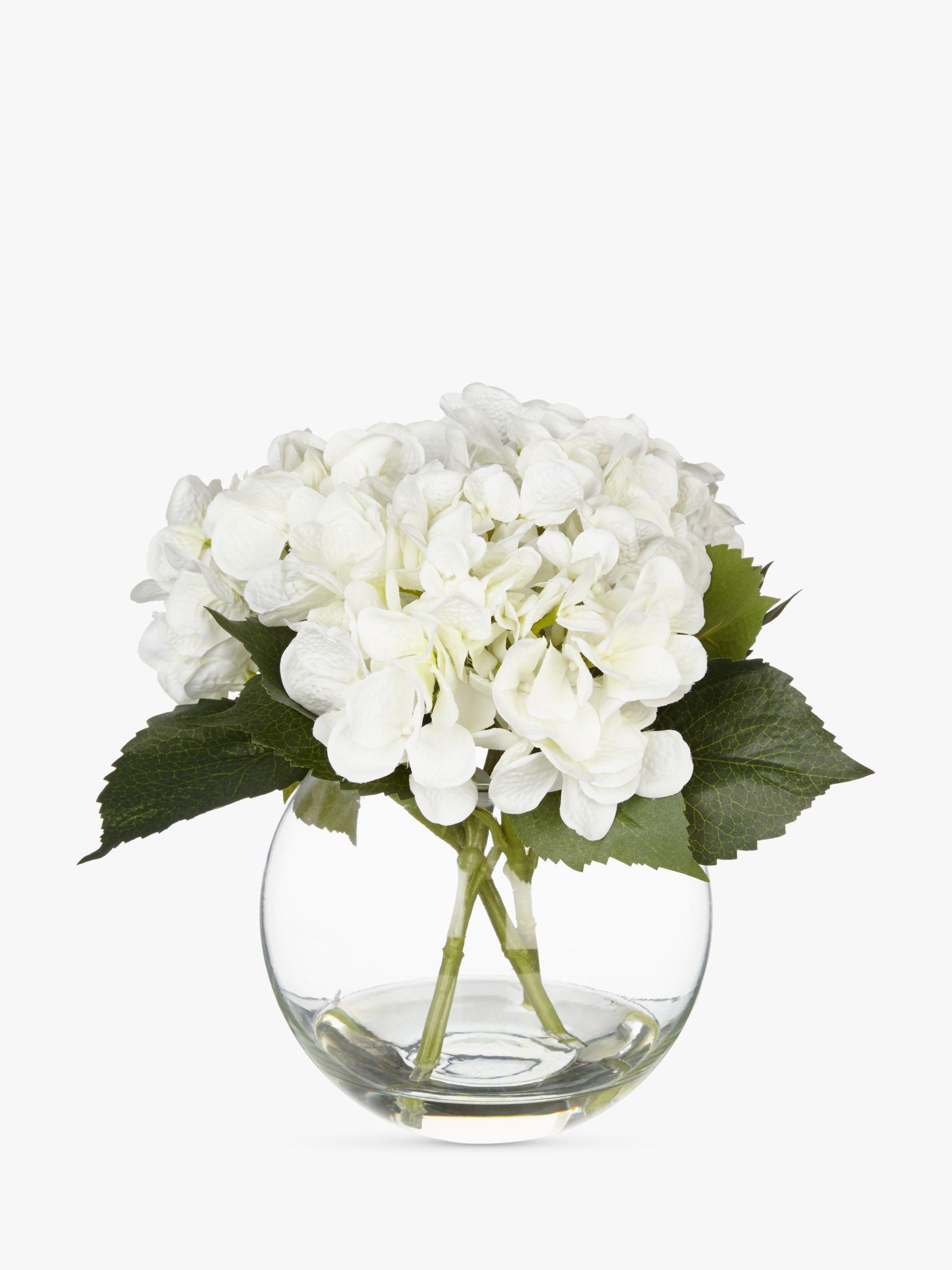 Peony Artificial Peony Hydrangea in Fishbowl, White