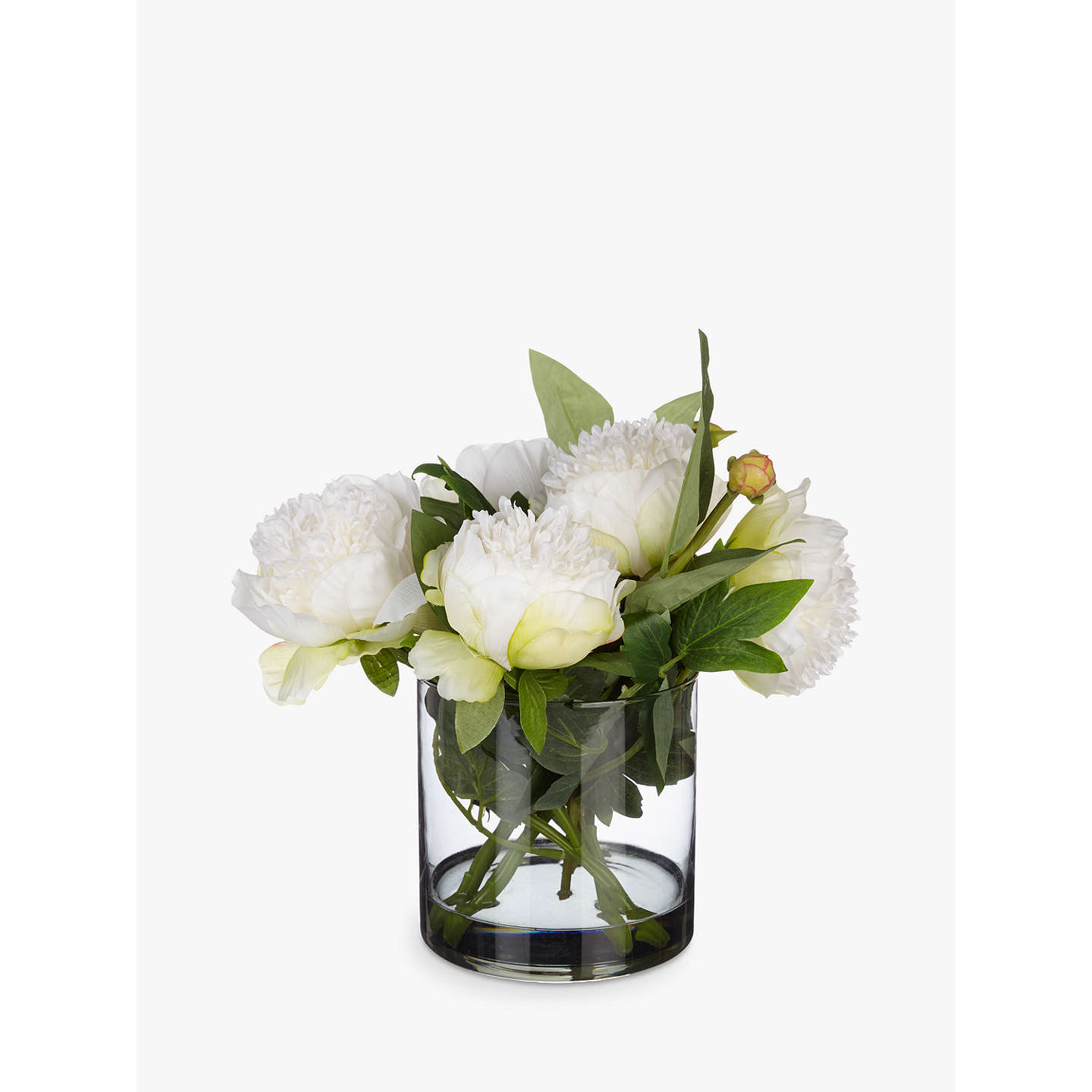 Peony artificial peonies in black glass cylinder vase white at john buypeony artificial peonies in black glass cylinder vase white online at johnlewis mightylinksfo Image collections