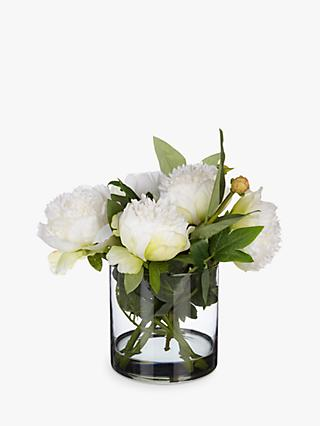 Peony Artificial Peonies in Black Glass Cylinder Vase, White