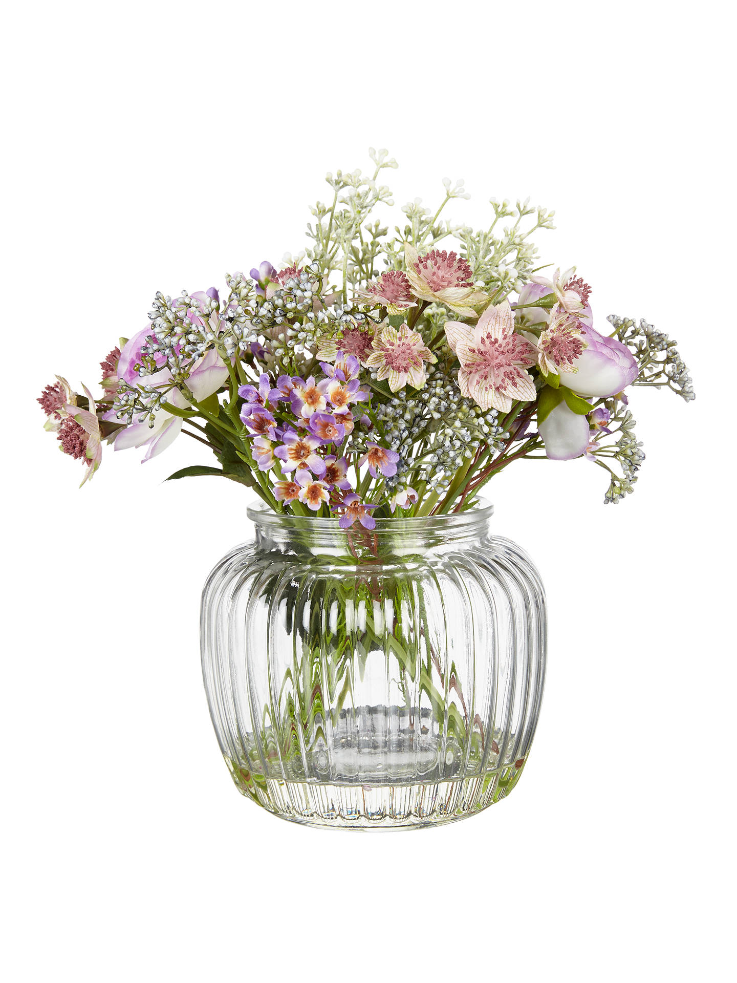 Peony Artificial Purple Flowers In Glass Bottle Vase At John Lewis