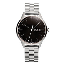 Buy Uniform Wares C40PSI01BRAPSI1818R01 Men's C40 Day Date Bracelet Strap Watch, Silver/Black Online at johnlewis.com