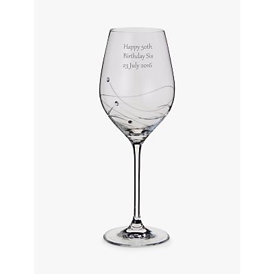 Dartington Crystal Personalised Glitz Wine Glass (Single), Gabriola Font
