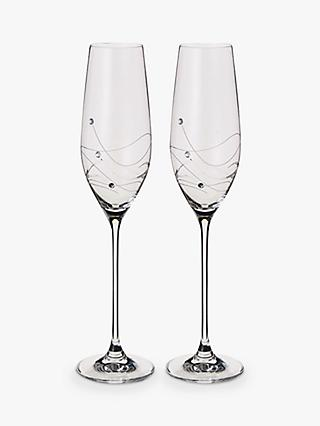 Dartington Crystal Personalised Glitz Flute, Set of 2, Gabriola Font