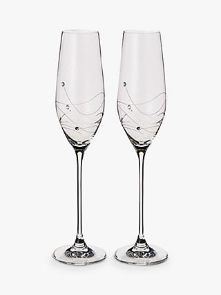 Dartington Crystal Personalised Glitz Flute, Set of 2, Palace Script Font