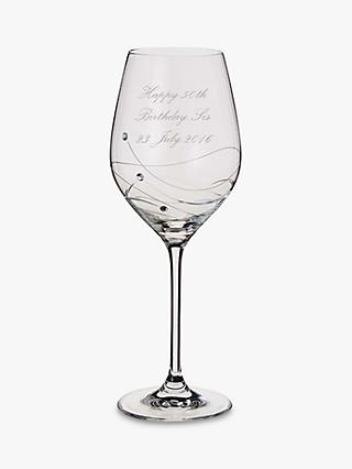Dartington Crystal Personalised Glitz Wine Glass (Single), Palace Script Font