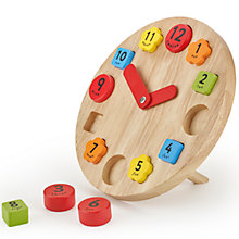 Buy John Lewis Teaching Clock Wooden Toy Online at johnlewis.com