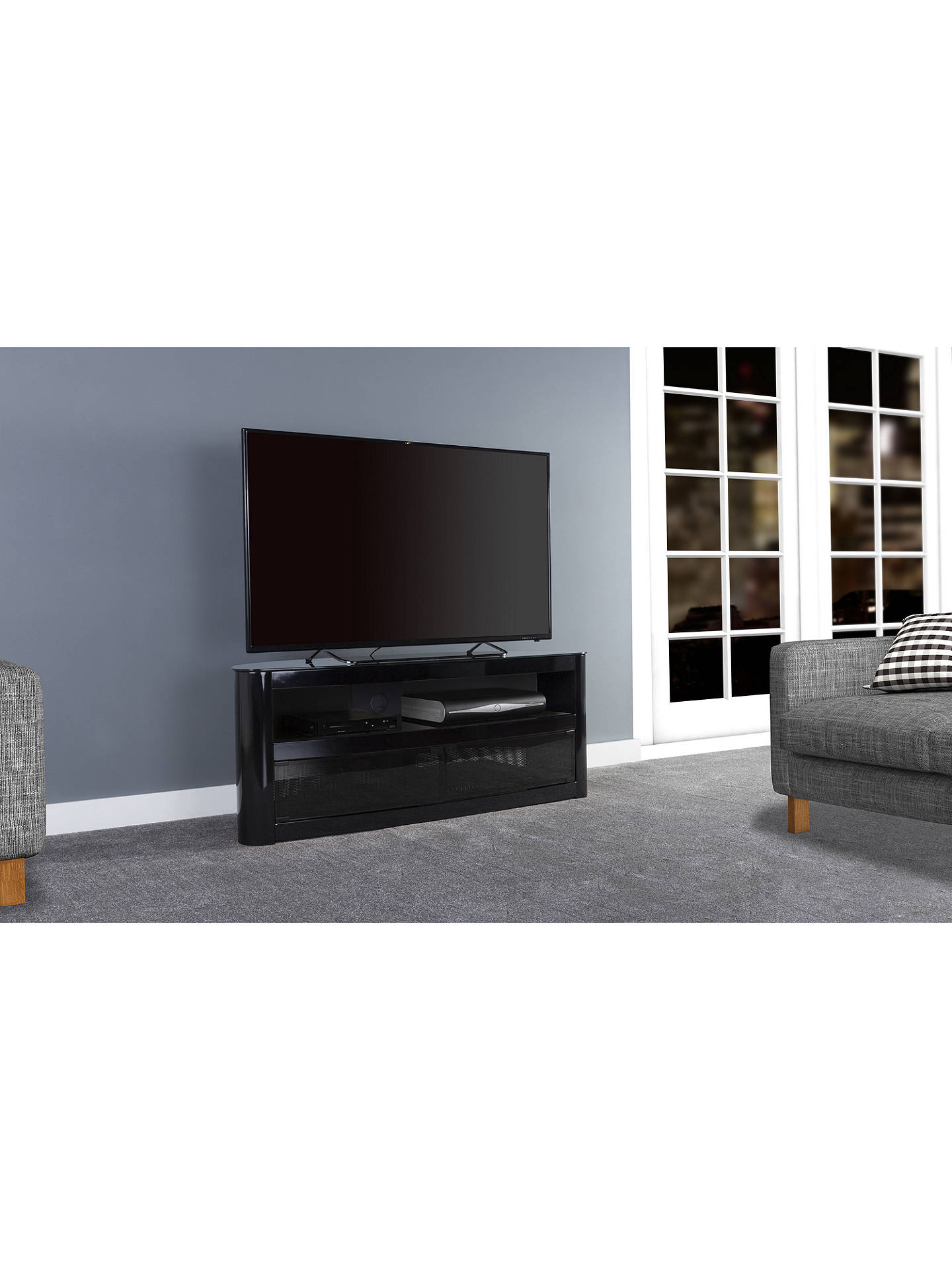 "BuyAVF Affinity Premium Burghley 1250 TV Stand For TVs Up To 65"", Black Online at johnlewis.com"