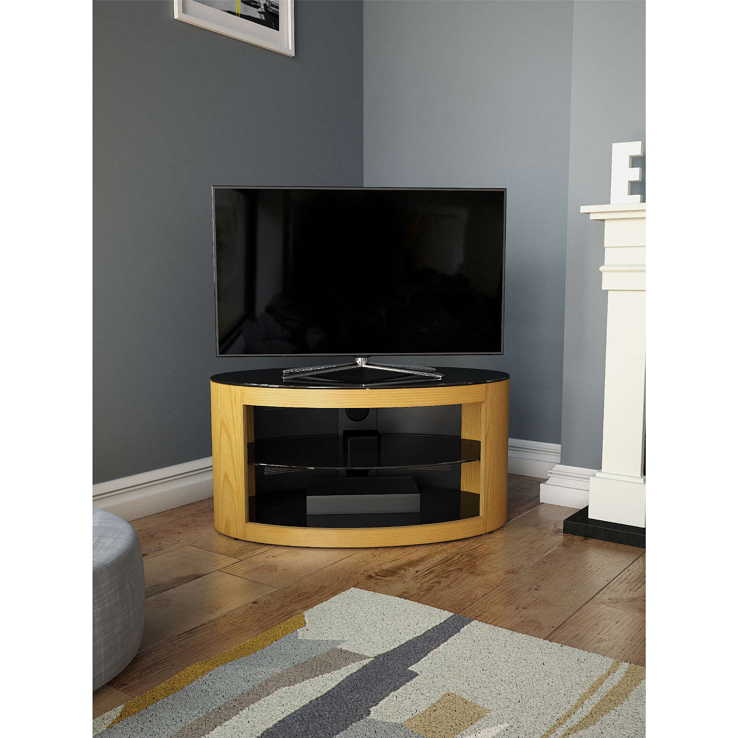 "BuyAVF Affinity Premium Buckingham 800 TV Stand For TVs Up To 40"", Oak Online at johnlewis.com"