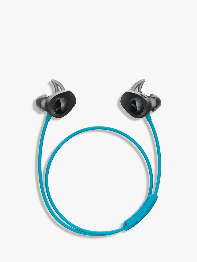 Buy Bose SoundSport Sweat & Weather-Resistant Wireless In-Ear Headphones With Bluetooth/NFC, 3-Button In-Line Remote and Carry Case, Aqua/Black Online at johnlewis.com