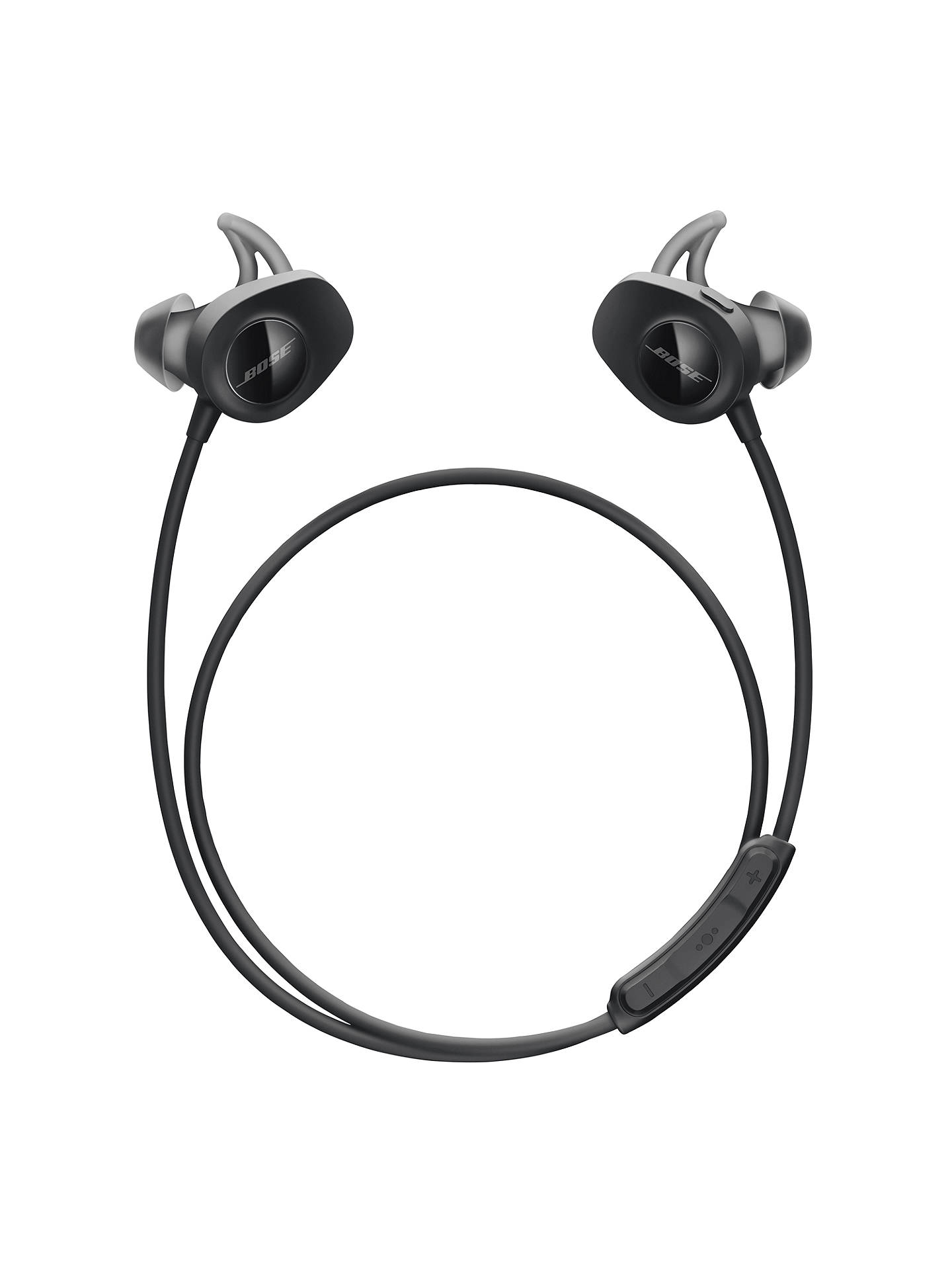 BuyBose® SoundSport™ Sweat & Weather-Resistant Wireless In-Ear Headphones With Bluetooth/NFC, 3-Button In-Line Remote and Carry Case, Black Online at johnlewis.com