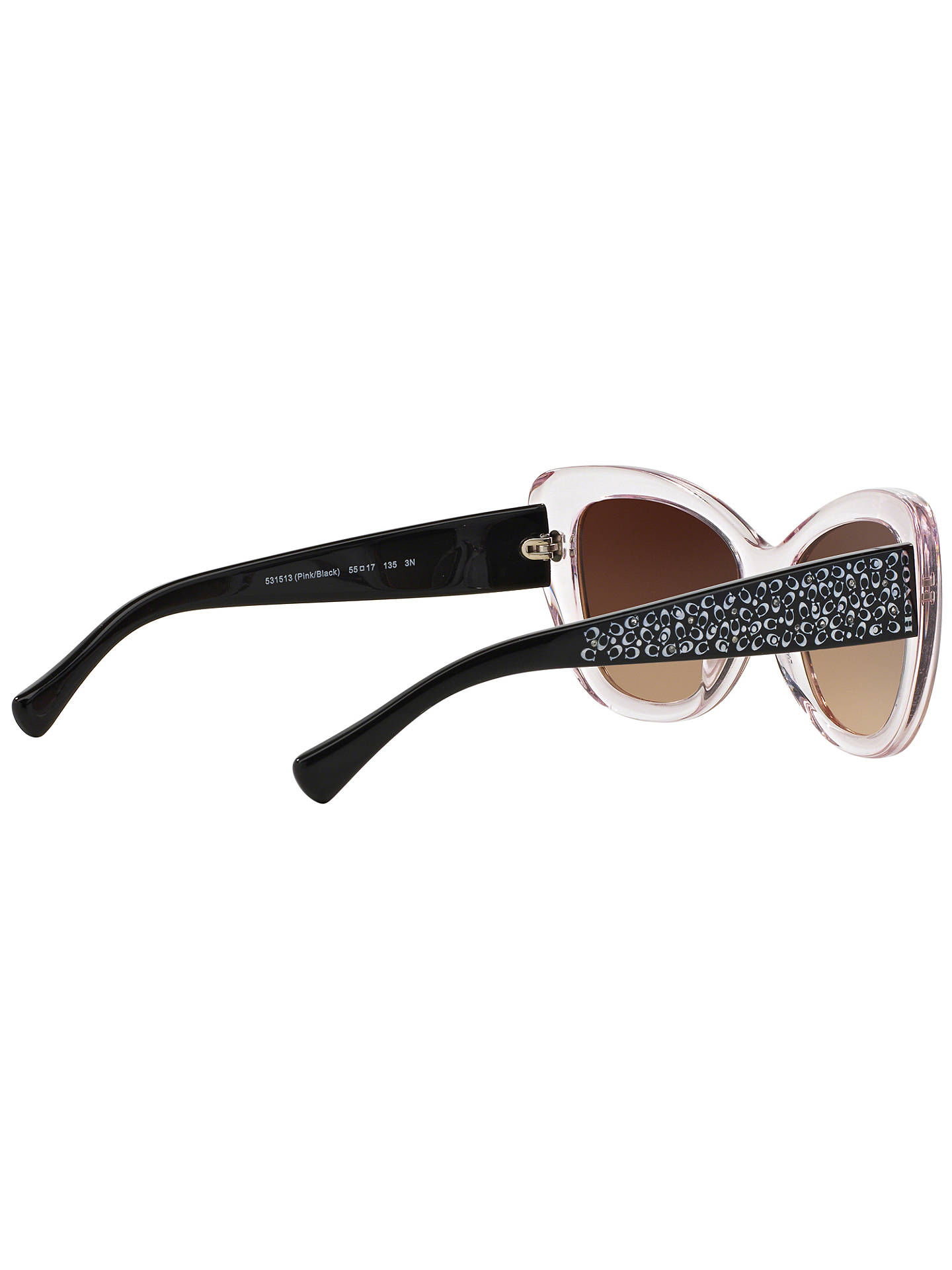 Buy Coach HC8143B Embellished Cat's Eye Sunglasses, Black/Clear Online at johnlewis.com