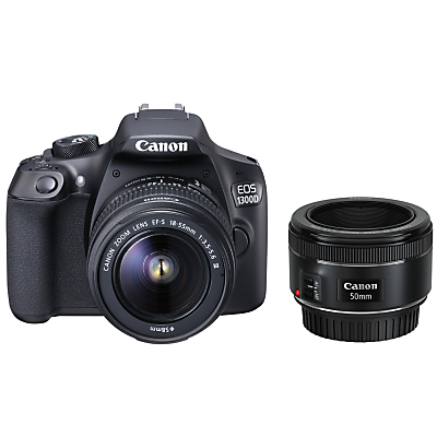 Image of Canon EOS 1300D Digital SLR Camera with EF 18-55mm f/3.5-5.6 III Lens & EF 50 mm f/1.8 Lens, HD 1080p, 18MP, Wi-Fi, NFC, 3 LCD Screen