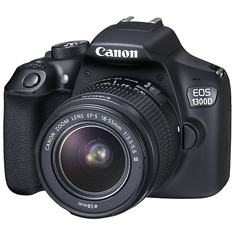 "Buy Canon EOS 1300D Digital SLR Camera with EF 18-55mm f/3.5-5.6 III Lens & EF 50 mm f/1.8 Lens, HD 1080p, 18MP, Wi-Fi, NFC,  3"" LCD Screen Online at johnlewis.com"