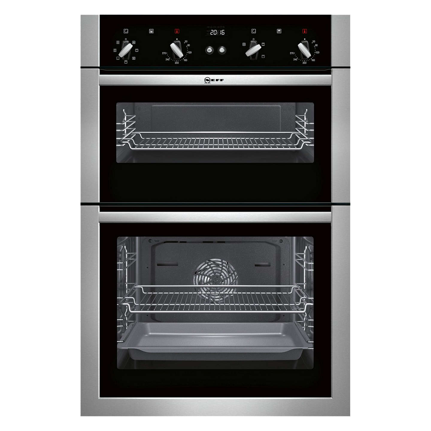 neff u14m42n5gb built in double oven stainless steel at john lewis