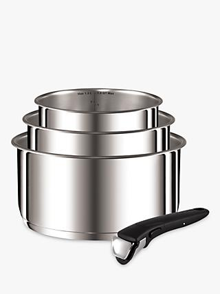 Tefal Ingenio Stainless Steel 4 Piece Saucepan Set