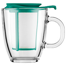 Buy Bodum Yo-Yo Mug and Tea Strainer Set, 350ml, Teal Online at johnlewis.com
