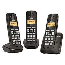 Buy Gigaset A220A Digital Cordless Telephone with Answering Machine, Triple DECT, Black Online at johnlewis.com