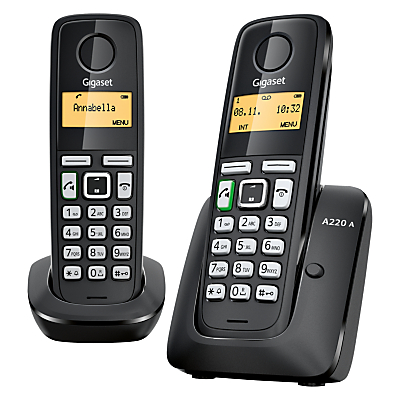 Gigaset A220A Digital Cordless Telephone with Answering Machine, Duo DECT, Black