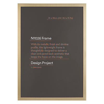 Design Project by John Lewis No.026 Brass Gold Finish Photo Frame, A4 (21 x 30cm/8.2 x 11.7)