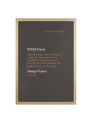 "Design Project by John Lewis No.026 Brass Gold Finish Photo Frame, A4 (21 x 30cm/8.2 x 11.7"")"