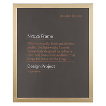 "Buy Design Project by John Lewis No.026 Brass Gold Finish Photo Frame, 8 x 10"" Online at johnlewis.com"