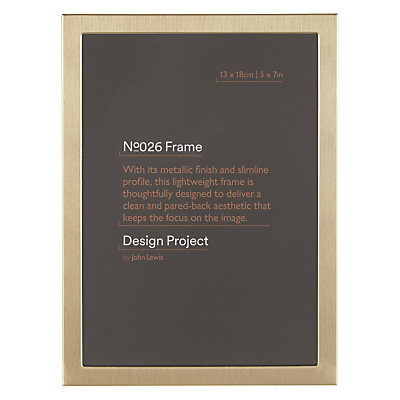 Design Project by John Lewis No.026 Brass Gold Finish Photo Frame, 5 x 7