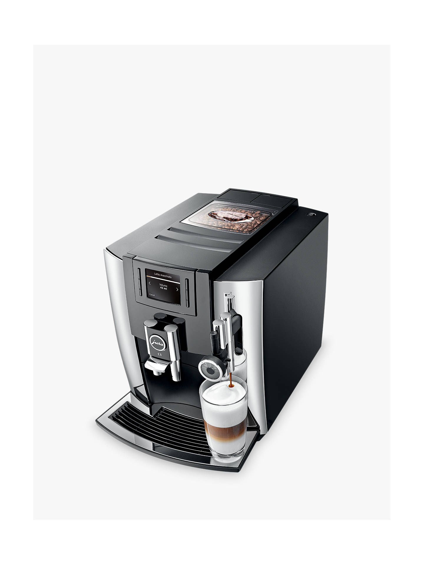 Buy Jura E8 Bean-to-Cup Automatic Coffee Machine, Chrome Online at johnlewis.com