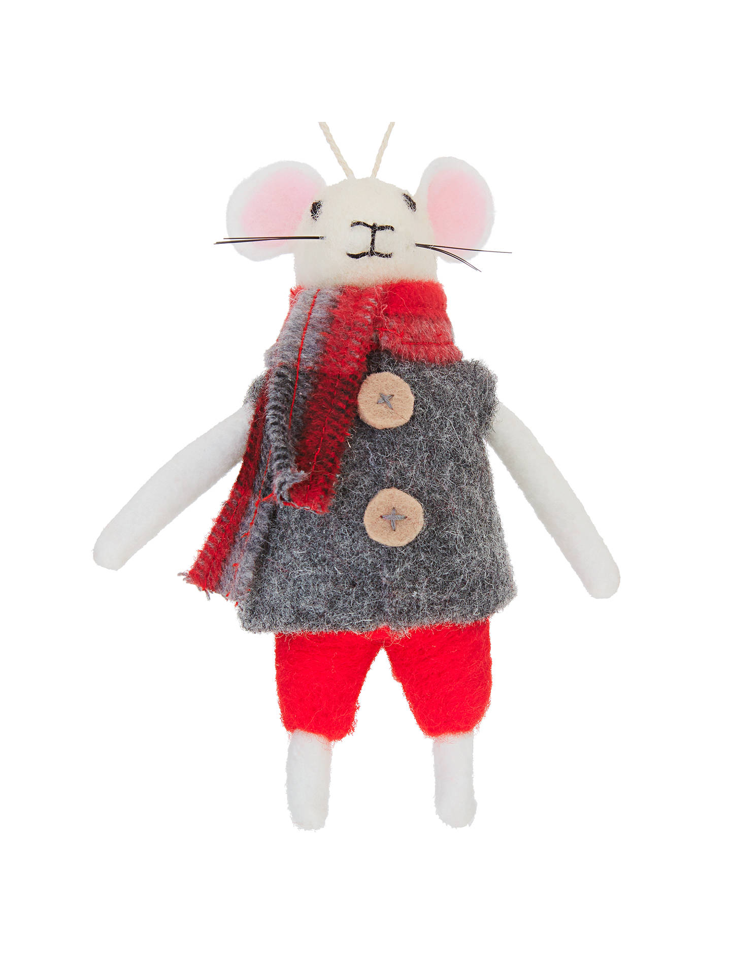 Christmas Mouse.John Lewis Grand Tour Christmas Mouse Tree Decoration Grey