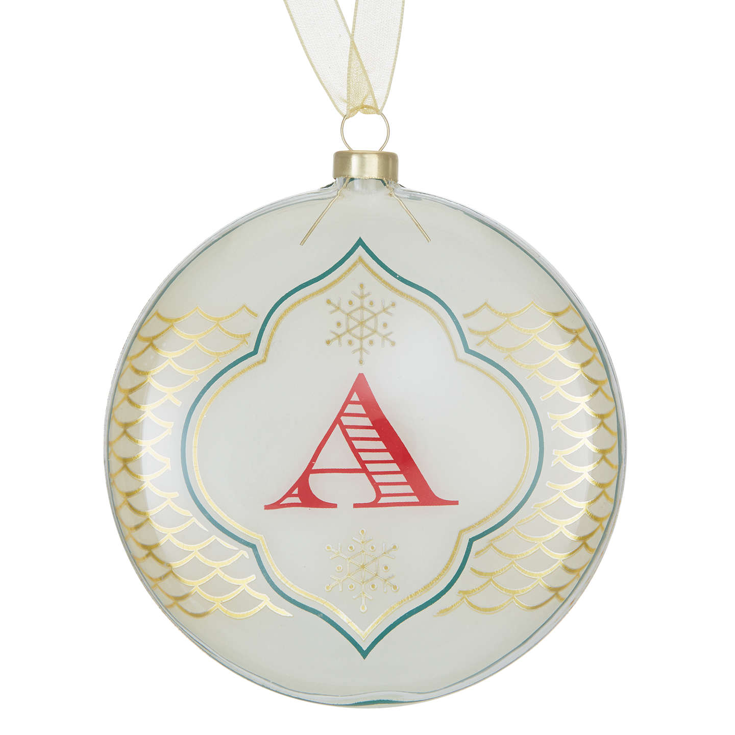 BuyJohn Lewis Monogram Bauble, A, Ivory & Gold Online at johnlewis.com
