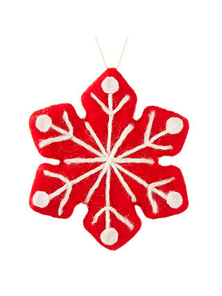 Buy John Lewis Chamonix Felt Snowflake Bauble, Red Online at johnlewis.com
