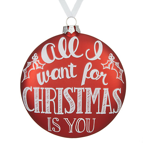 John Lewis Chamonix Christmas Script Bauble, Red