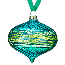 Buy John Lewis Shangri-La Glittered Onion Bauble, Green Online at johnlewis.com